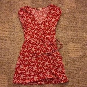 hollister floral wrap dress